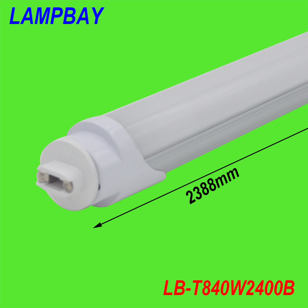 (20 Pack) Free shipping  LED tube bulb 8ft F96 HO base R17D single pin 40W 110V replace to philips fluorescent fixture 85-277V free shipping 10pcs carton 1 2m 18w 36w led t5 single tube double tube light with shiled to replace 28w 36w traditional light