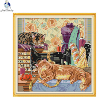 Joy sunday animals style The cat and sewing machine counted christmas cross stitch free patterns kits for embroidery supplies