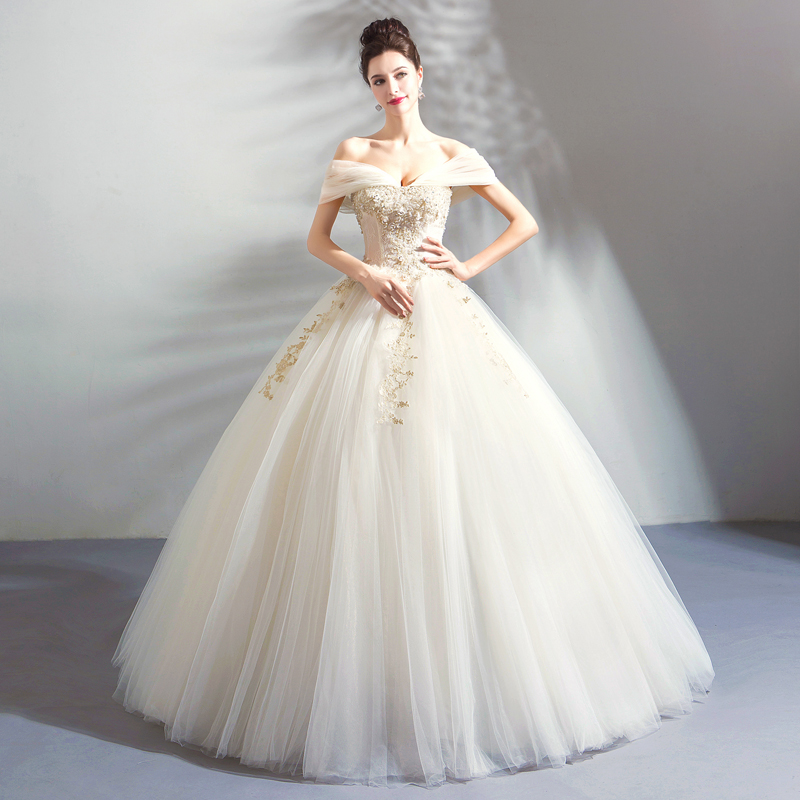 2019 Vintage Off The Shoulder Wedding Dresses Short Sleeves Princess Ball Gowns Bridal Dress Wedding Gowns