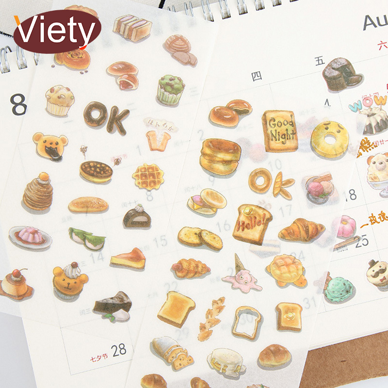 6 Sheets/lot Delicious Food Donuts Paper Sticker DIY Scrapbooking Diary Album Sticker Paste Stationery School Supplies