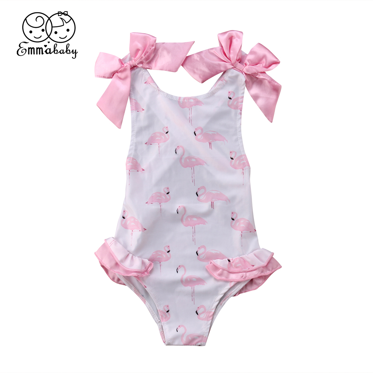 Summer Baby Girl Bow Swimsuit Flamingo Kids Bodysuit Swimming Clothes Swimwear Bathing Suit For Baby Girl funfeliz flamingo swimsuit for girls 2 8 years one piece girls swimwear cute unicorn kids swimming suit children bathing suits