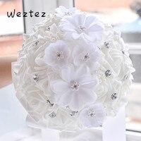 Wedding Bouquet Artificial Flower Rose Ribbon Crystal Bouquets Handmade Classic White Bridal Bridesmaid Flower D470
