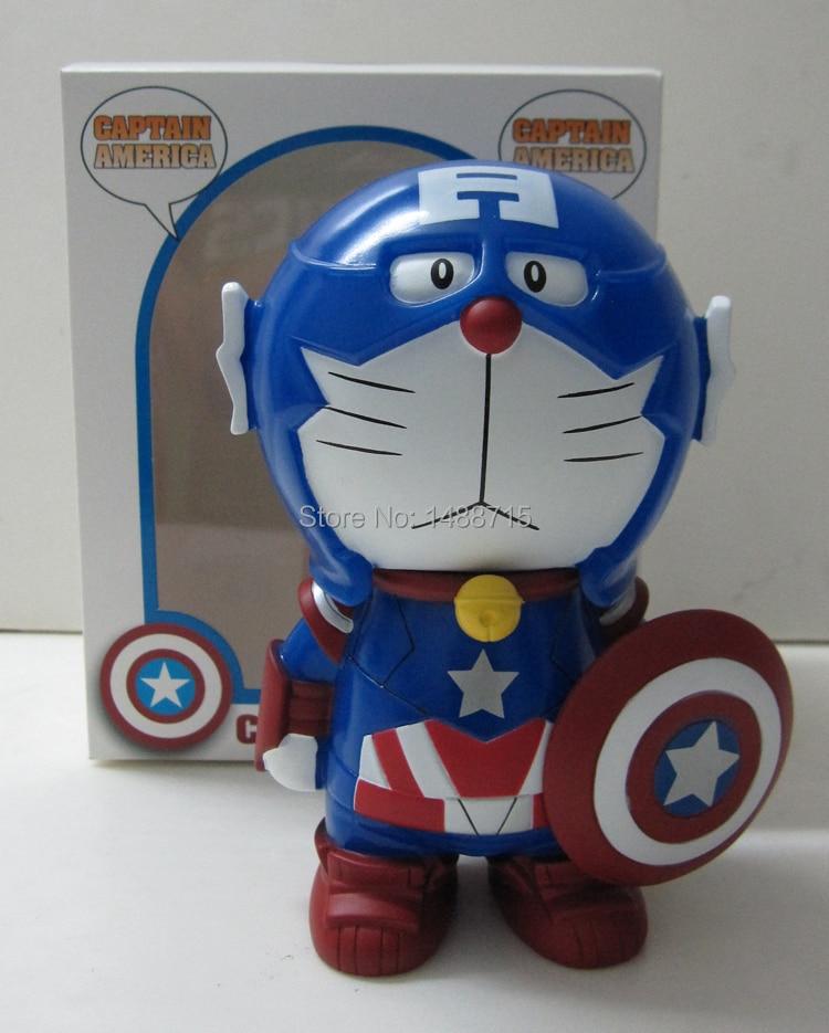 Hot Sale Anime Robot Doraemon Money Box COS Classic Superhero Captain America Lovely 6 PVC Figure Toys New Box