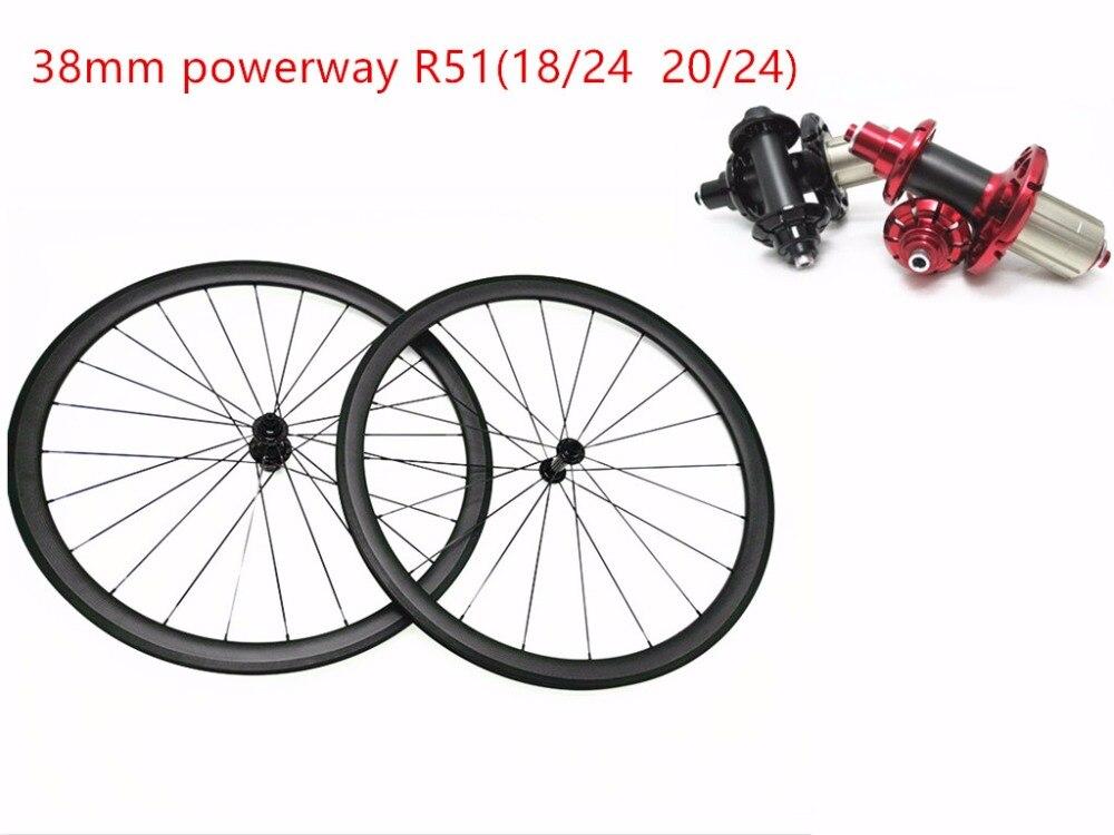 Roues en carbone powerway R51 traction droite 700C route 38mm roues tubulaires vélos roues de route 18 24 roues de vélo