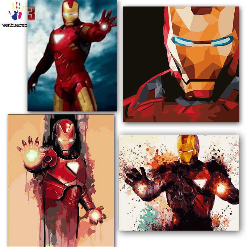 DIY colorings pictures by numbers with colors Iron man picture drawing painting by numbers framed Home