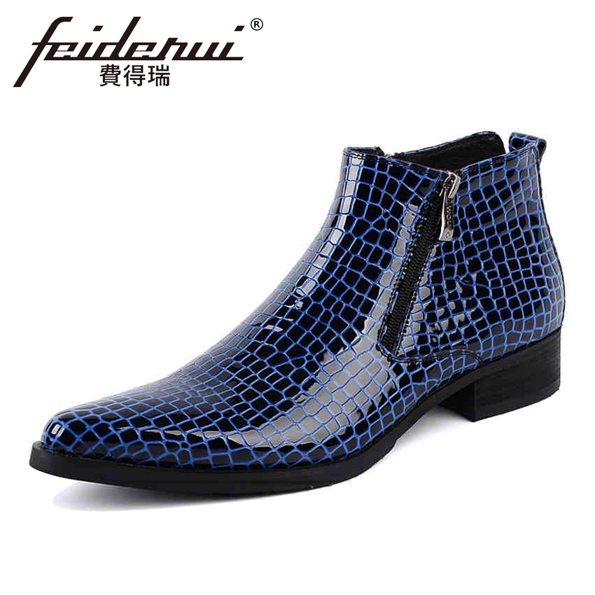 Luxury Patent Leather Men's Ankle Boots Italian Designer Pointed Toe Handmade Cowboy Formal Dress Wedding Shoes For Man YMX38 fashion top brand italian designer mens wedding shoes men polish patent leather luxury dress shoes man flats for business 2016