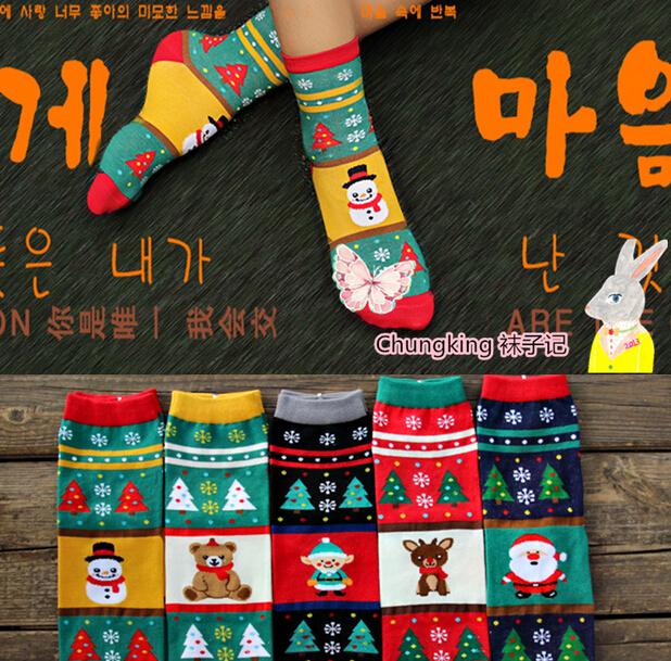 1 lote = 6 pairs Mujeres calcetines ocasionales de las mujeres de santa claus de navidad, muñeco de nieve de navidad, alces calcetines otoño invierno calcetería calcetín