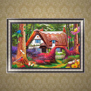 DIY full round rhinestone embroidery European riverside cottage home decoration 5D diamond embroidery mosaic painting 1