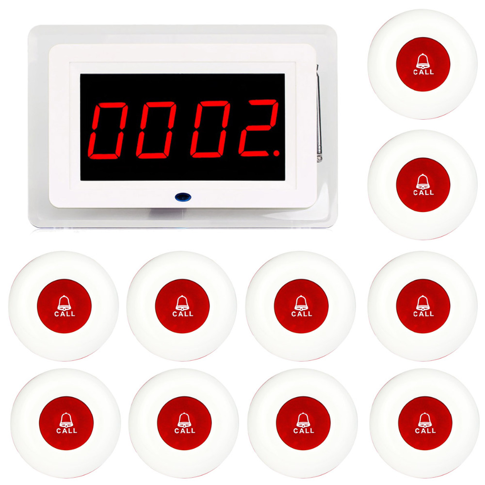 RETEKESS Wireless Waiter Nurse Calling Pager System Receiver Host Voice Broadcast 10pcs Call Transmitter Red Button