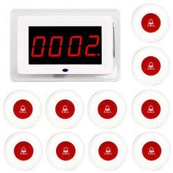 Retekess garçom enfermeira sem fio chamando sistema pager receptor host transmissão de voz + 10pcs chamada transmissor botão vermelho restaurante