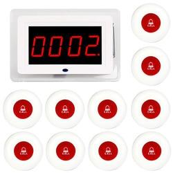 TIVDIO Беспроводной официант медсестра вызов пейджер Системы хоста получателя голос вещания + 10 шт. передатчик вызова красная кнопка Ресторан