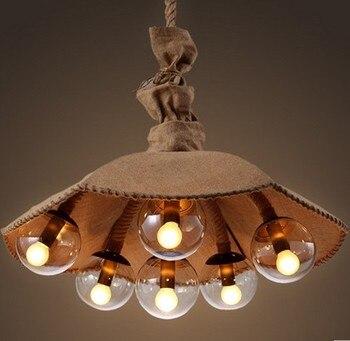 로프트 스타일 대마 밧줄 droplight 다이닝 룸에 대 한 산업 빈티지 펜 던 트 전등 led 매달려 램프