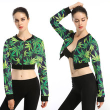 cosplay clothing exposed umbilical sweater high waist sexy long-sleeved shirt exposed foliage leaves pattern thin section jacket