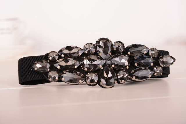 Ella cinturón cinturones para mujer con diamantes de imitación, cuentas de cristal de lujo jeweled cinturón color blanco negro y marrón