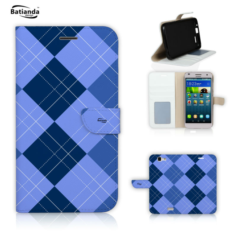 For Huawei Ascend G8 Cover font b Tartan b font Check StyleLeather Wallet Stand Case For