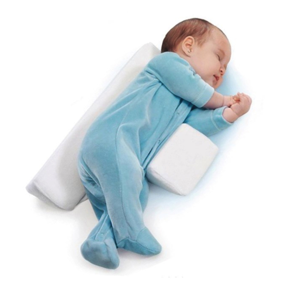 Baby Pillow Baby Side Sleep Pillow Anti Roll Pillow for Newborn Baby w//Breathable Mesh Cotton Waist Support Blue