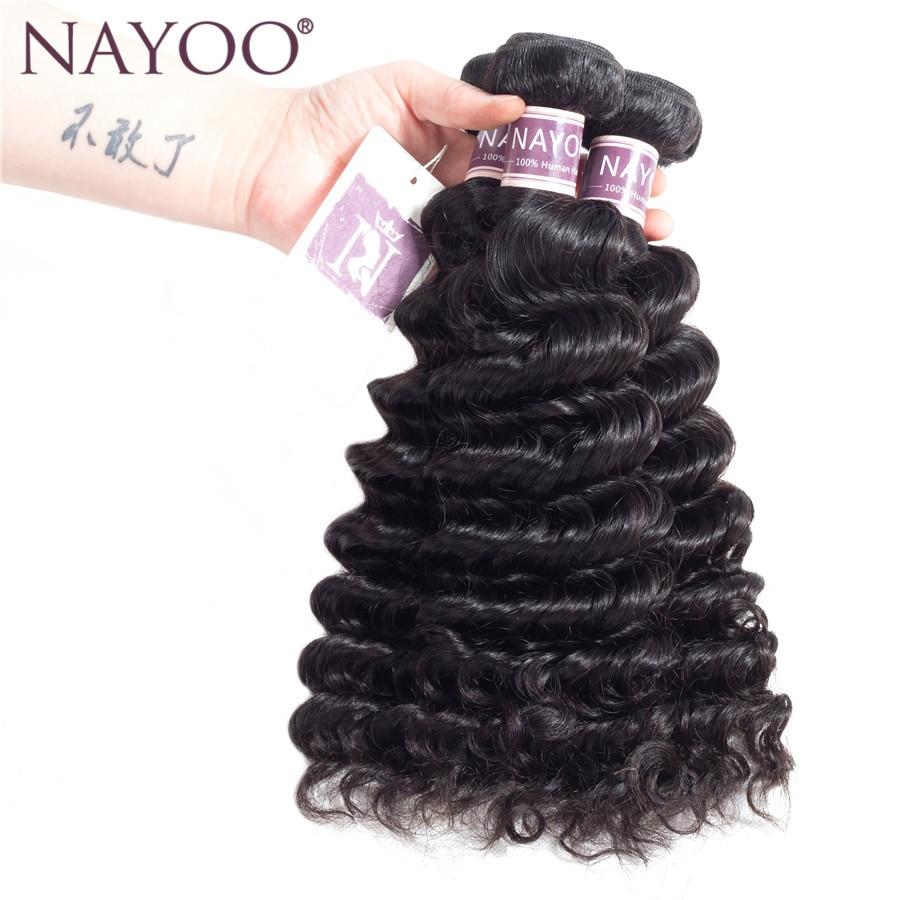 NAYOO Malaysia Hair Weave 1 Bundle 100% Human Hair Weave Double Weft Human Hair Extension Malaysia Non Remy Deep Wave Bundles