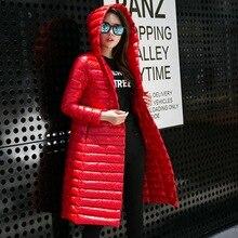 Winter Women Long Ultralight Warm Down Cotton Jacket Women Plus Size High Quality Hooded Slim Coat Women Overcoat Parka Z362