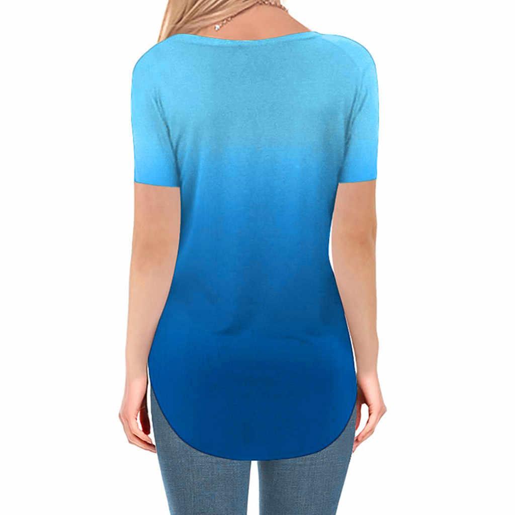 Bayan artı boyutu moda yaz 2019 T gömlek v yaka degrade renk Streetwear Casual gömlek gevşek tee gömlek femme
