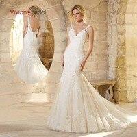 Vivian's Bridal 2018 V neck Backless Mermaid Wedding Dress Spaghetti Straps Sleeveless Lace Appliques Court Train Bridal Dress