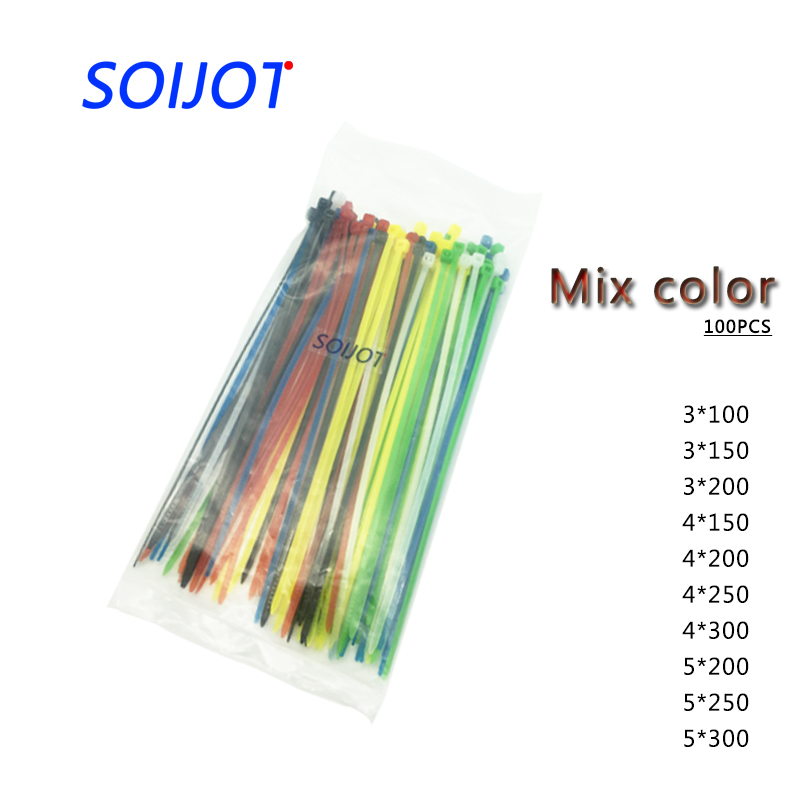 Self-Locking Plastic Nylon Wire Cable Zip Ties 100pcs Mix Color Cable Ties Fasten Loop Cable Different Color