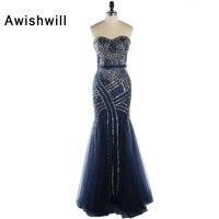 Nova Chegada Azul Marinho Longos Vestidos de Noite 2018 Sem Alças de Contas e Lantejoulas Chão Tulle Da Sereia Formal Vestidos Vestido de Festa