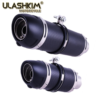 universal 51mm 61mm motorcycle exhaust muffler pipe escape exhaust carbon fiber for yamaha mt10 t max 500 bws 125 dt 125 mt 125 E-Mark Universal Motorcycle Real Carbon Fiber Slip On Exhaust Muffler Pipe Escape with DB Killer for Most Motorcycle