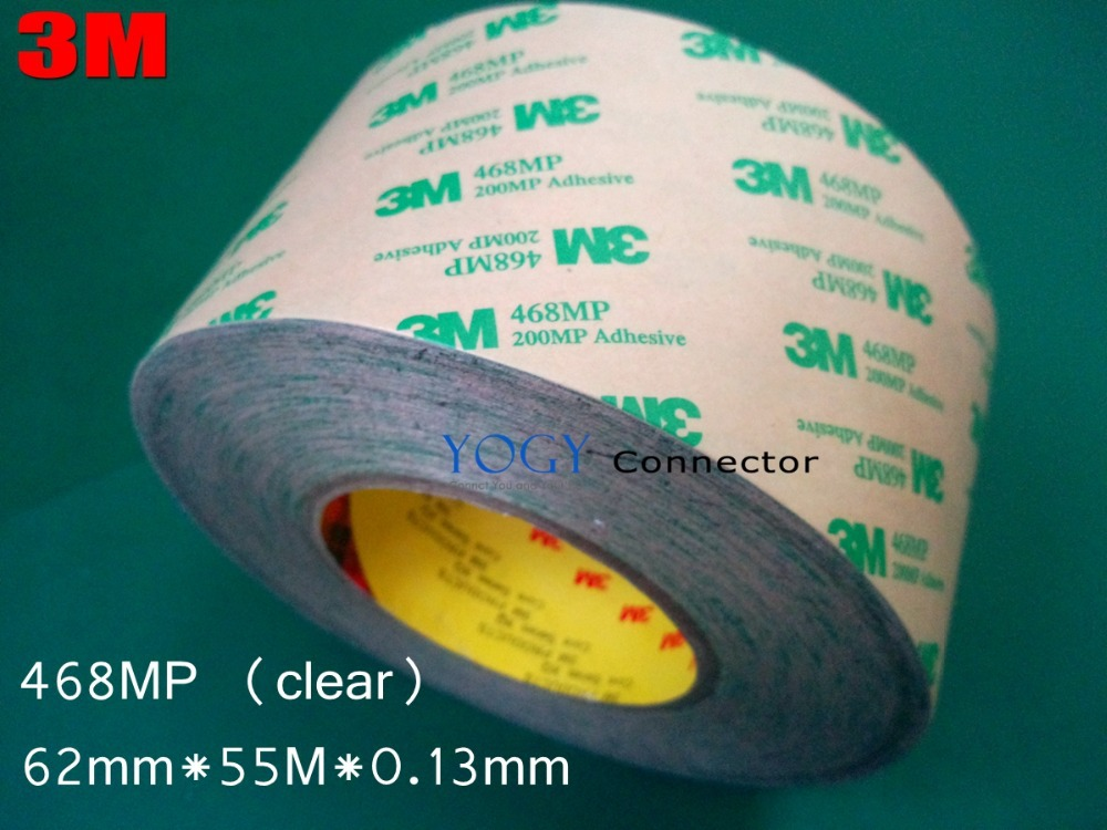 3M 468MP, 62mm*55M*0.13mm, Double Sided Adhesive Tape, High Temperature Resistance Sticky,  200MP for Electrical Nameplate 1pcs 18mm x 5mm single sided self adhesive shockproof sponge foam tape 3 meters