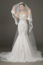 3 Meter White Cathedral Wedding Veils Charming Long Lace Edge Bridal Veil with Comb Wedding Accessories Bride Mantilla