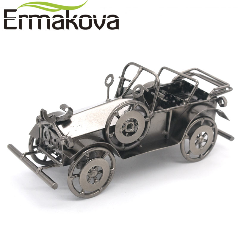 ERMAKOVA Metal Old Car Figurine Vintage Vehicle Model Runabout Car ...