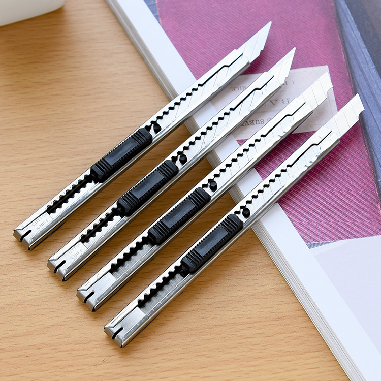 4pcs/Lot Metal Utility Knife Small Wallpaper Knife Handle Paper Cutter Knife Cutting Tools Office School Supplies
