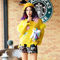 2017 new spring  paillette doll torn edge yellow sweater female short design pullover  fashion sweater
