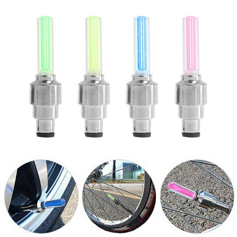 2//4pcs LED Bike Bicycle Wheel Tire Valve Cap Spoke Neon Light Lamp Multicolor dn