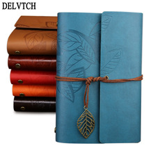 DELVTCH PU Leather Retro Kraft Paper Strap Notebook Vintage Travelers Refillable Sketchbook Blank Pages Diary Journal Kids Gifts maotu vintage leather journal writing notebook retro diary book sketchbook creative gift notebook crafted blank paper