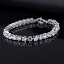 Роскошные теннисные браслеты 4 мм с кубическим цирконием, цепочка со льдом, кристалл, свадебный браслет для женщин и мужчин, золотой, серебряный браслет, ювелирное изделие