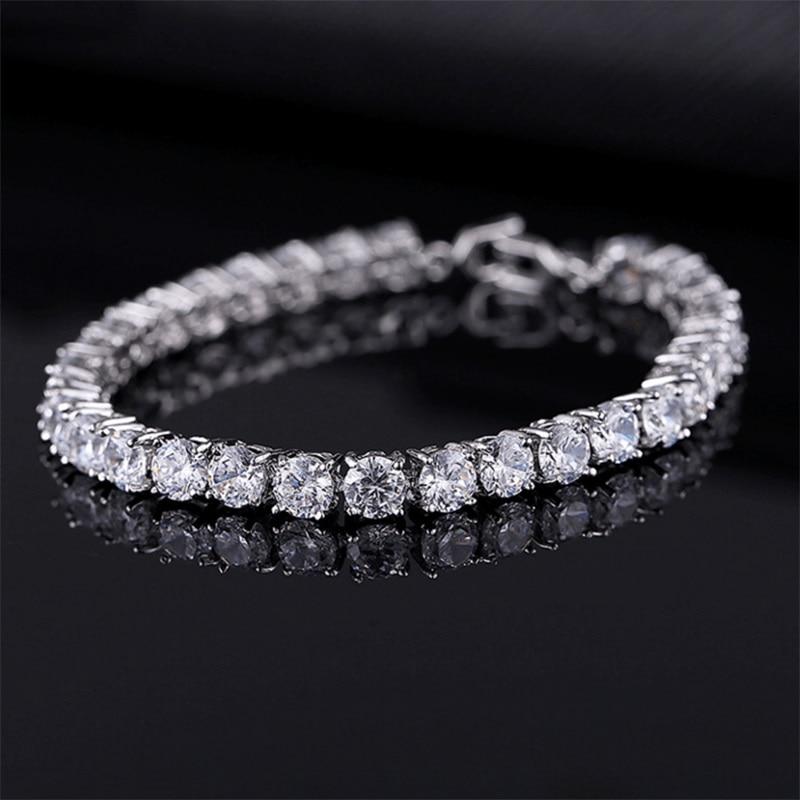 Bracelets de Tennis en zircon cubique de luxe 4mm avec chaîne de mariage en cristal pour femmes hommes Bracelet en argent doré bijoux