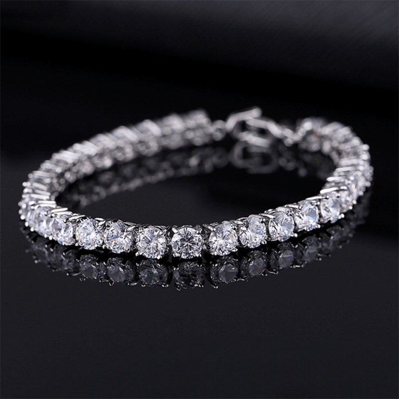 Luxury 4mm Cubic Zirconia Tennis Bracelets Iced Out Chain Crystal Wedding Bracelet For Women Men Gold Silver Color Bracelet(China)