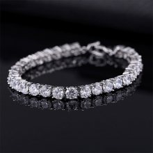 Luxe 4Mm Zirconia Tennis Armbanden Iced Out Chain Crystal Wedding Armband Voor Vrouwen Mannen Goud Zilver Kleur Armband(China)