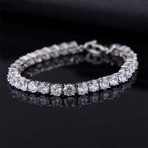 Luxury 4mm Cubic Zirconia Tennis Bracelets Iced Out Chain Crystal Wedding Bracelet For Women Men Gold Silver Color Bracelet(China)