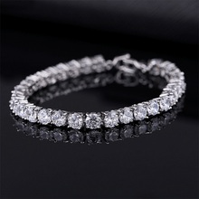 Luxury 4mm Cubic Zirconia Tennis Bracelets Iced Out Chain Cr