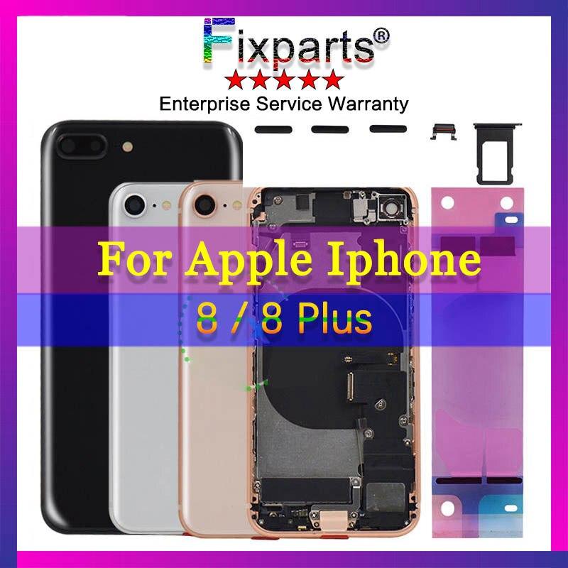 Noir Plein Logement Pour l'iphone 8 8 Plus Avec Cadre Moyen retour Batterie Couverture Arrière Porte Cas + Flex Câble Assemblée Logement Arrière 8