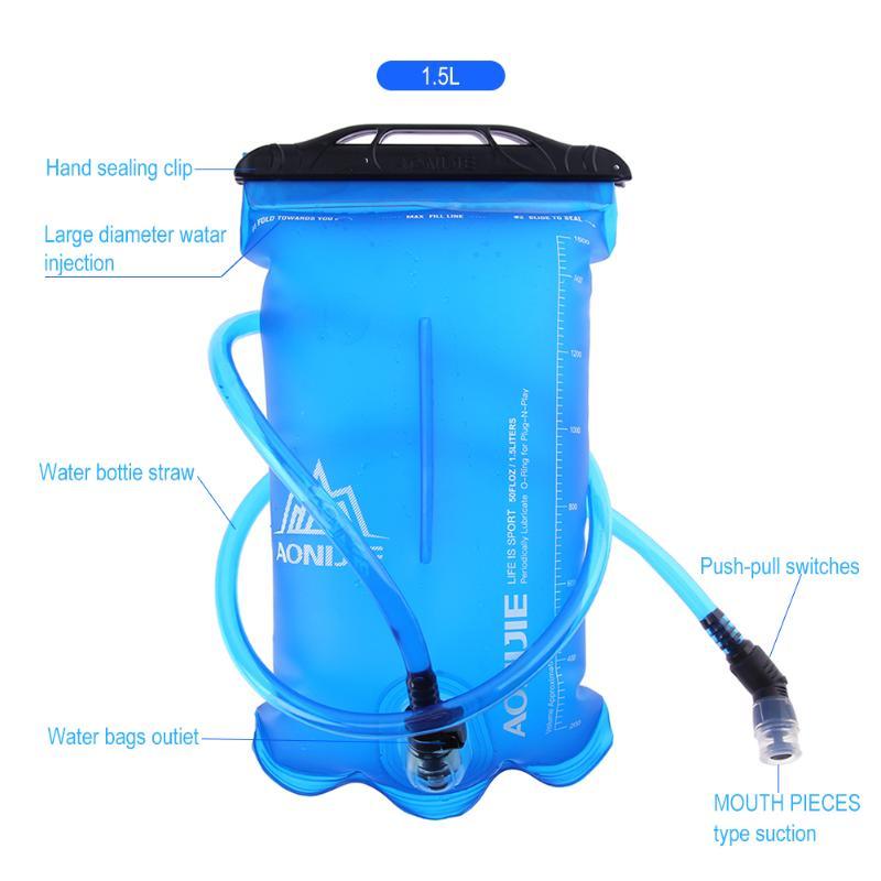 1.5L/2L/3L TPU bolsa de agua hombres mujeres deporte al aire libre hidratación vejiga Riding camping plegable soporte de agua tubo limpiador cepillos