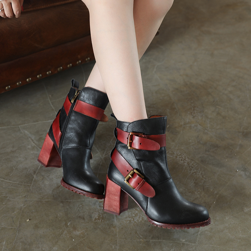 Women Martin Boots Genuine Leather 7 CM High Heels Ankle Boots For Women Leather Buckle Fashion Knight Boot Handmade Autumn Shoe цены онлайн