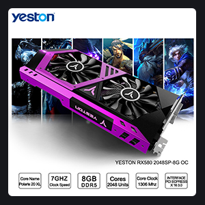 BIG SALE] Yeston Radeon RX 580 GPU 8GB GDDR5 256bit Gaming Desktop