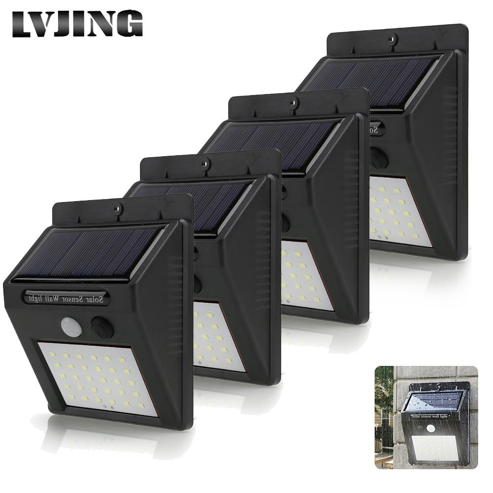 LVJING 1pcs 2pcs 4pcs 30 Leds PIR Motion Sensor Wireless Solar Lamp Outdoor Waterproof Home Garden Security Lamp