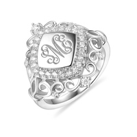Wholesale Sterling Silver Monogram Ring With Engravings Classic Initials For Mother's Day Rhombus Cubis Zirconia Signet Ring