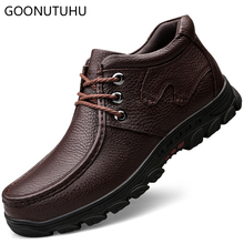 2018 new winter men's shoes casual genuine leather cow classic black and brown shoe man youth add plush waterproof shoes for men цены