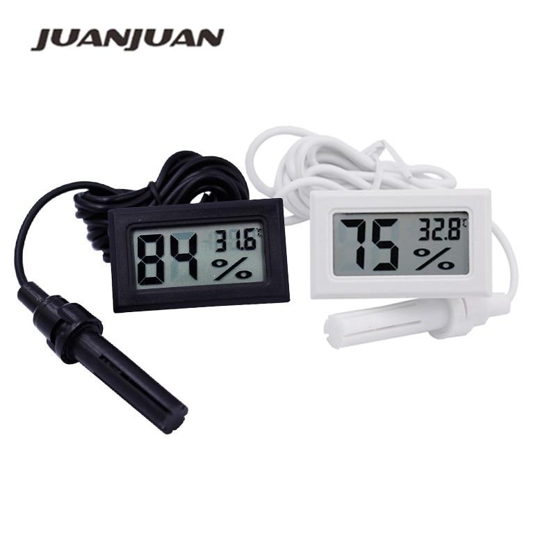 LCD Digital Aquarium Thermometer and Hygrometer Fish Tank Temperature Humidity Meter Gauge With Probes for Reptile Tanks Terrariums Bedroom Black