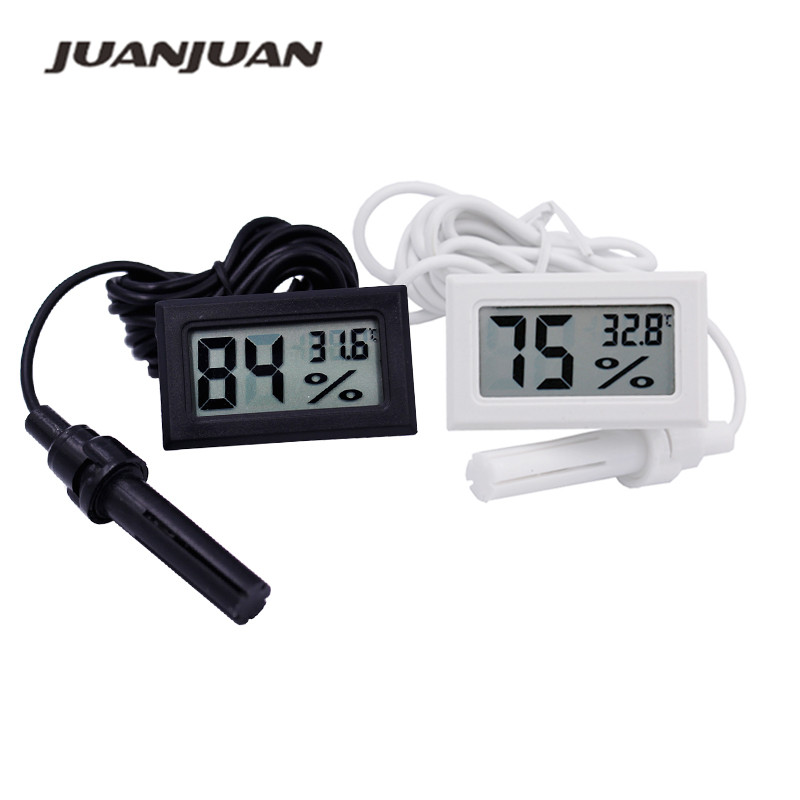 black JIUY Compact Size Large LCD Display Auto Car Thermometer High Accuracy Alarm Clock Vehicle Car Thermometer With Backlight