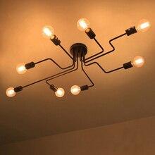 Luces De techo modernas para comedor E27, Luminaria De Teto, accesorios De iluminación, cocina, dormitorio, lámpara De salón Industrial Vintage, color negro